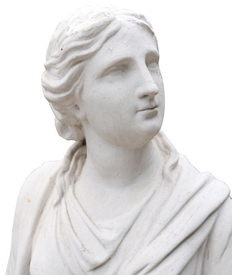 English Late 19th Century Plaster Statue Of A Classical Lady For Sale