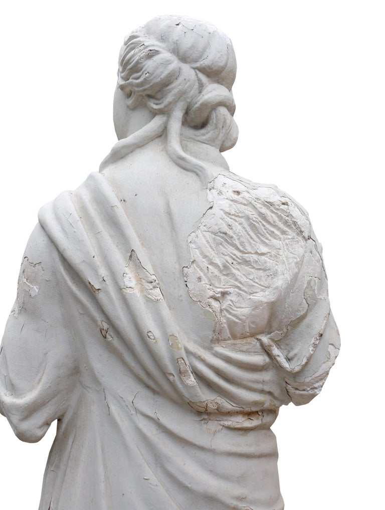 Late 19th Century Plaster Statue Of A Classical Lady In Fair Condition For Sale In Wormelow, Herefordshire