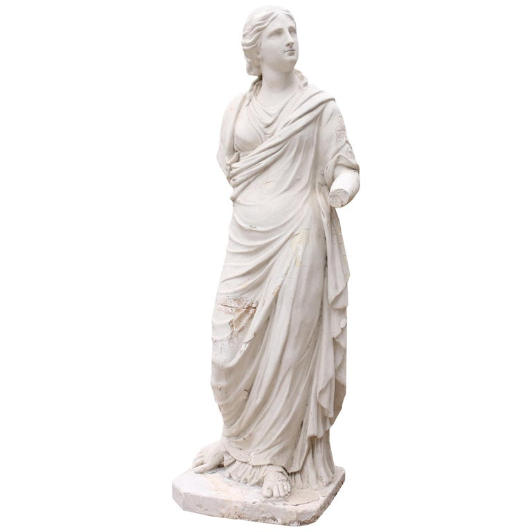 Late 19th Century Plaster Statue Of A Classical Lady For Sale