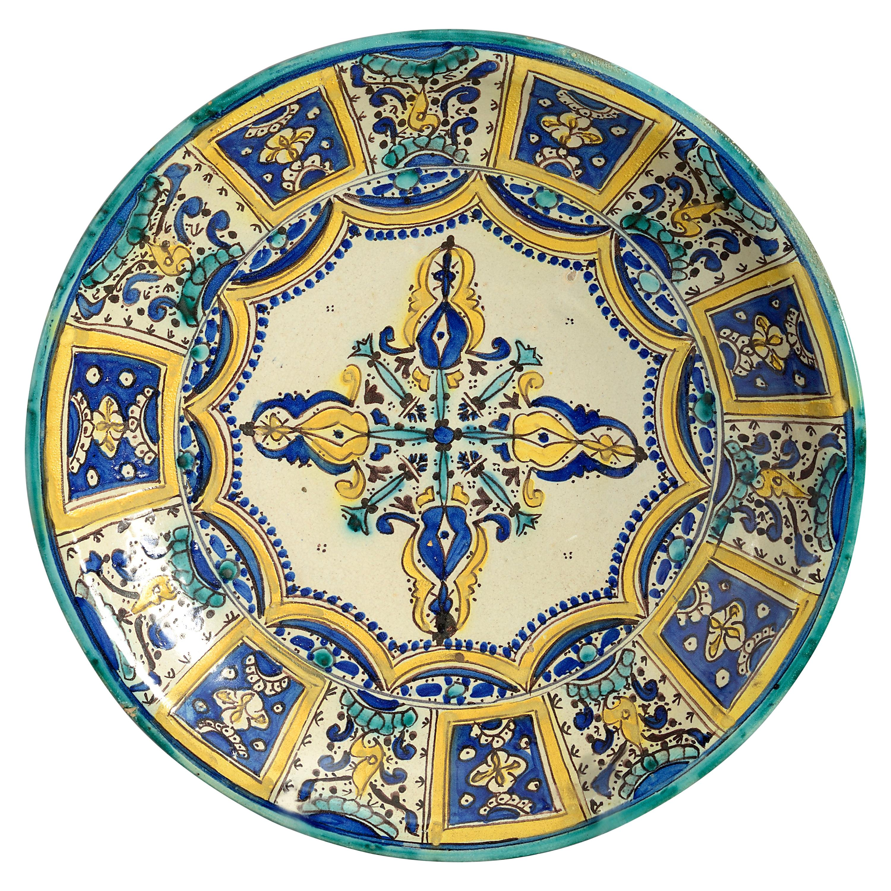 Late 19th Century Polychrome Pottery Charger