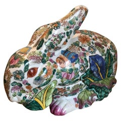 Late 19th Century Porcelain Rabbit Tureen in Famille Verte