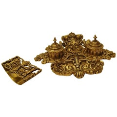 Late 19th Century Portuguese Double Gilt Bronze Desk Inkwell with Ink Blotter