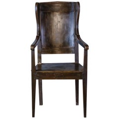 Late 19th Century Primitive Country Wingback Chair