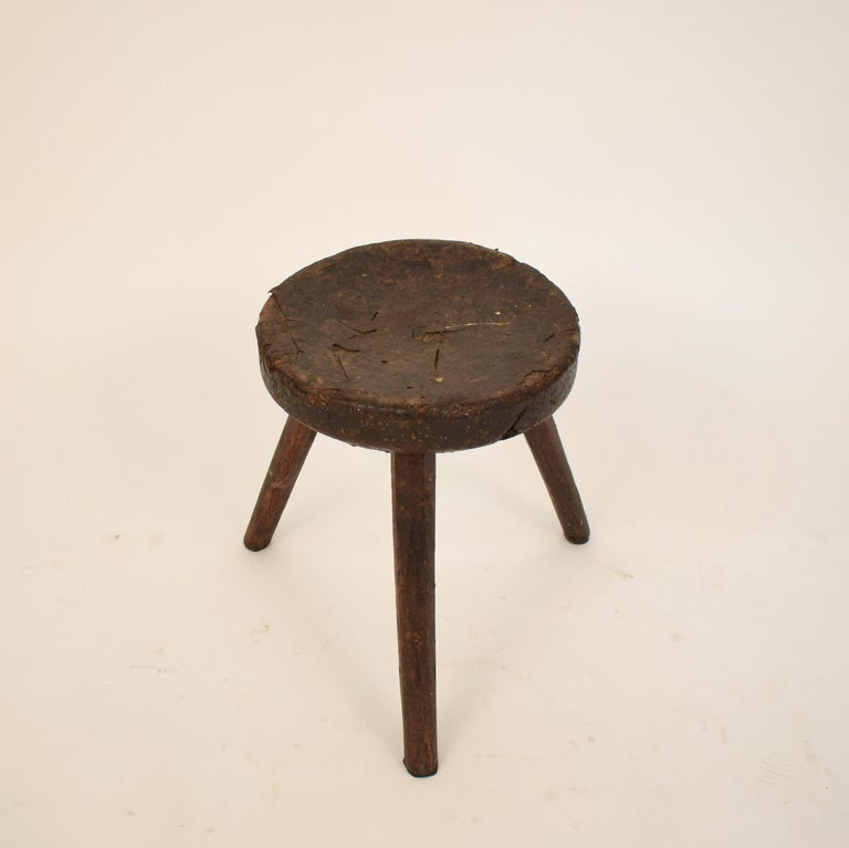Victorian Late 19th Century Primitive Elm Country Splayed Leg Wood Stool For Sale
