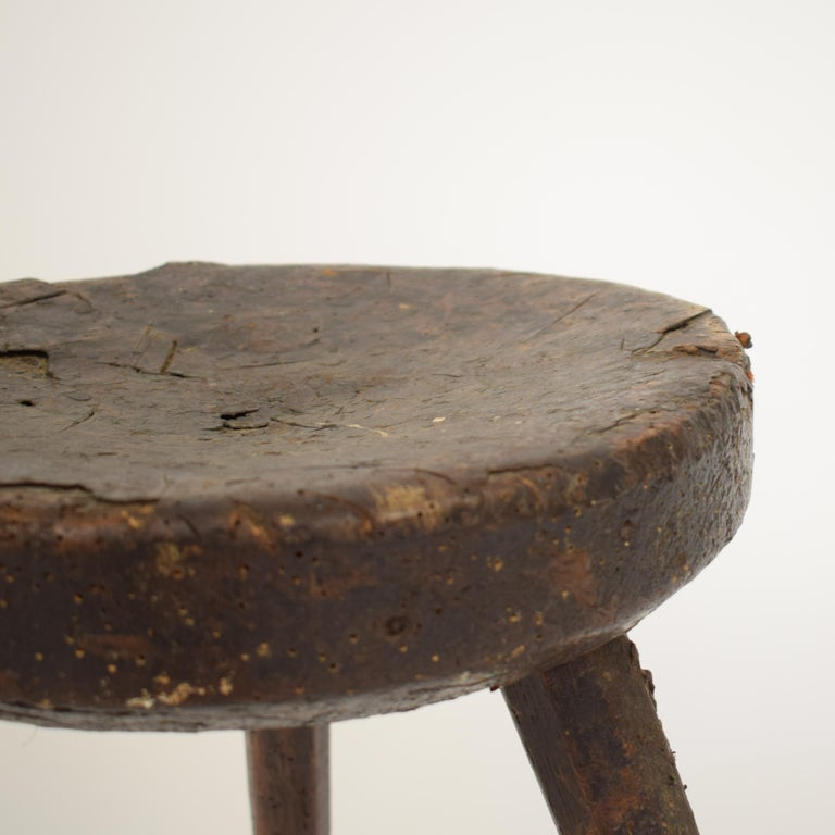 French Late 19th Century Primitive Elm Country Splayed Leg Wood Stool For Sale
