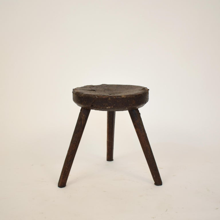 Leather Late 19th Century Primitive Elm Country Splayed Leg Wood Stool For Sale