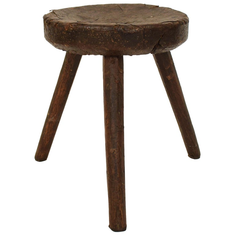 Late 19th Century Primitive Elm Country Splayed Leg Wood Stool For Sale