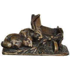 "Late 19th Century ""Rabbits"" Animal Bronze Signed Aigon"