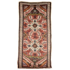 Late 19th Century, Red Field and Ivory Pattern, Wool Caucasian Eagle Kazak Rug