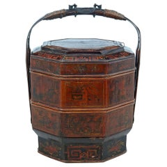 Late 19th Century Red Lacquer Chinese Marriage Basket