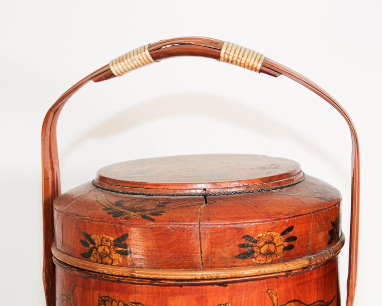 Late 19th century red lacquer Asian wedding Basket
