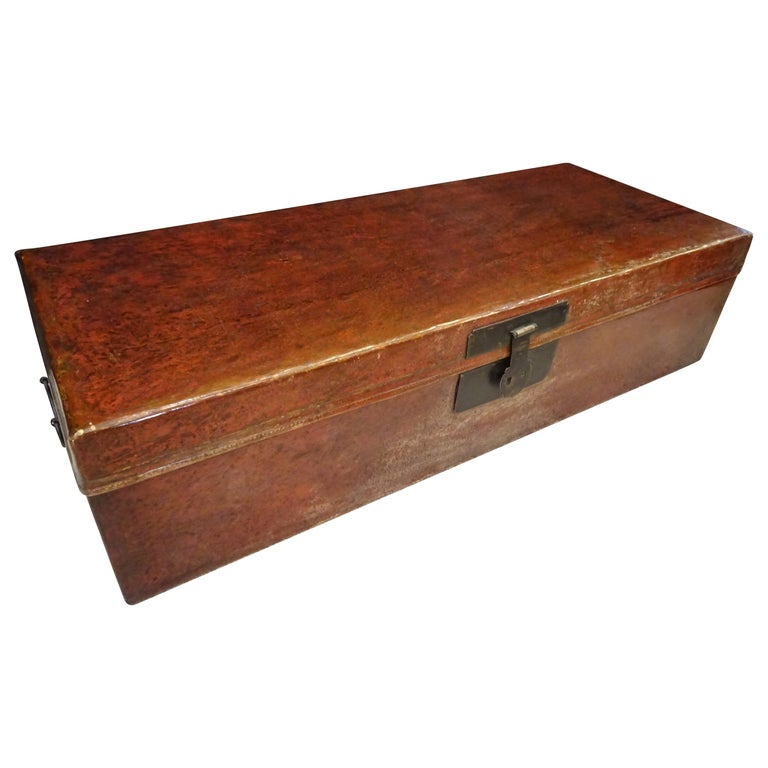 Late 19th Century Red Lacquer Chinese Storage Chest For Sale
