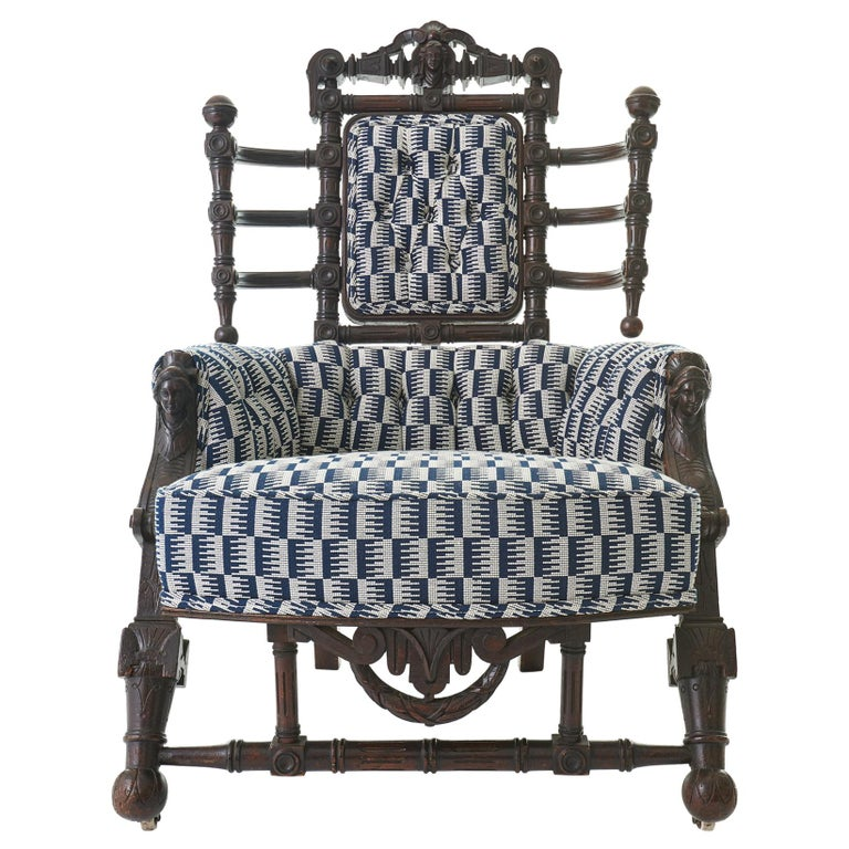 Late 19th Century Renaissance Revival Walnut Armchair by George Hunzinger For Sale
