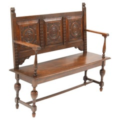 Late 19th Century Renaissance Style Carved Oak Hall Bench
