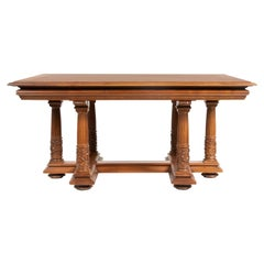 Late 19th Century Renaissance Style Solid Walnut Dining Table