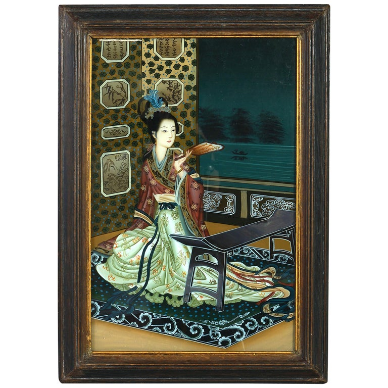 Late 19th Century Reverse Glass Painting Portrait Of A Chinese Lady