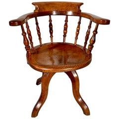 Late 19th Century Revolving Desk Chair in Elm and Fruitwood