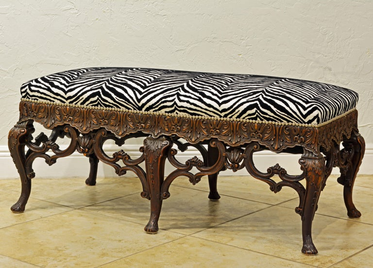 French Late 19th Century Richly Carved Louis XV Style Bench with Zebra Print Cover