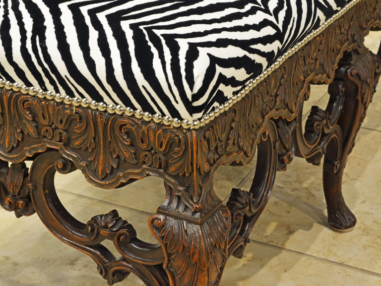 Late 19th Century Richly Carved Louis XV Style Bench with Zebra Print Cover In Good Condition In Ft. Lauderdale, FL