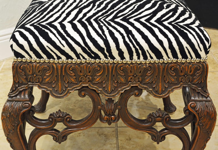 Fabric Late 19th Century Richly Carved Louis XV Style Bench with Zebra Print Cover