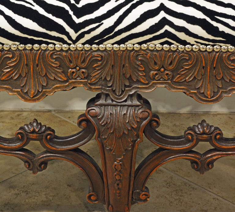 Late 19th Century Richly Carved Louis XV Style Bench with Zebra Print Cover 1