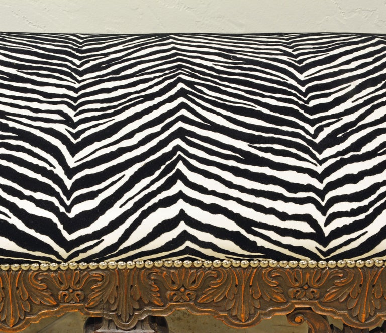 Late 19th Century Richly Carved Louis XV Style Bench with Zebra Print Cover 2