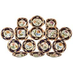Late 19th Century Ridgeway Porcelain Botanic Pattern Dessert Service