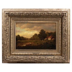 Late 19th Century River Landscape Oil on Canvas Painting by Henry Pember Smith
