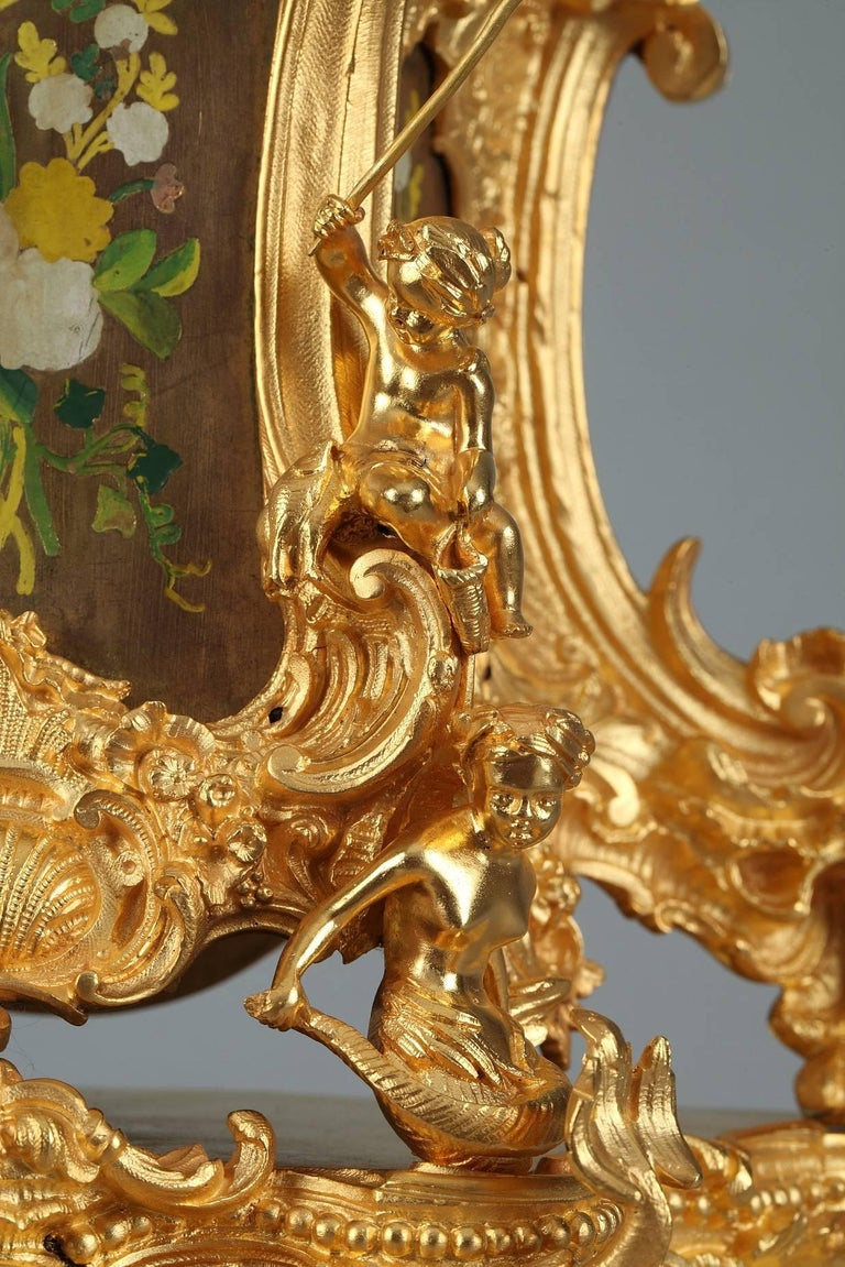 Gilt Late 19th Century Rocaille Ormolu Mantel Clock with Floral Decoration For Sale