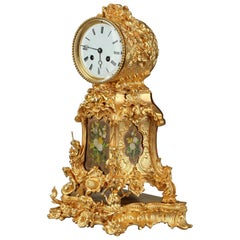 Late 19th Century Rocaille Ormolu Mantel Clock with Floral Decoration