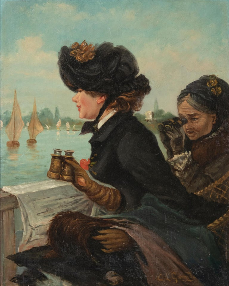 French Late 19th Century Romantic Oil Painting After Eduardo Garrido For Sale