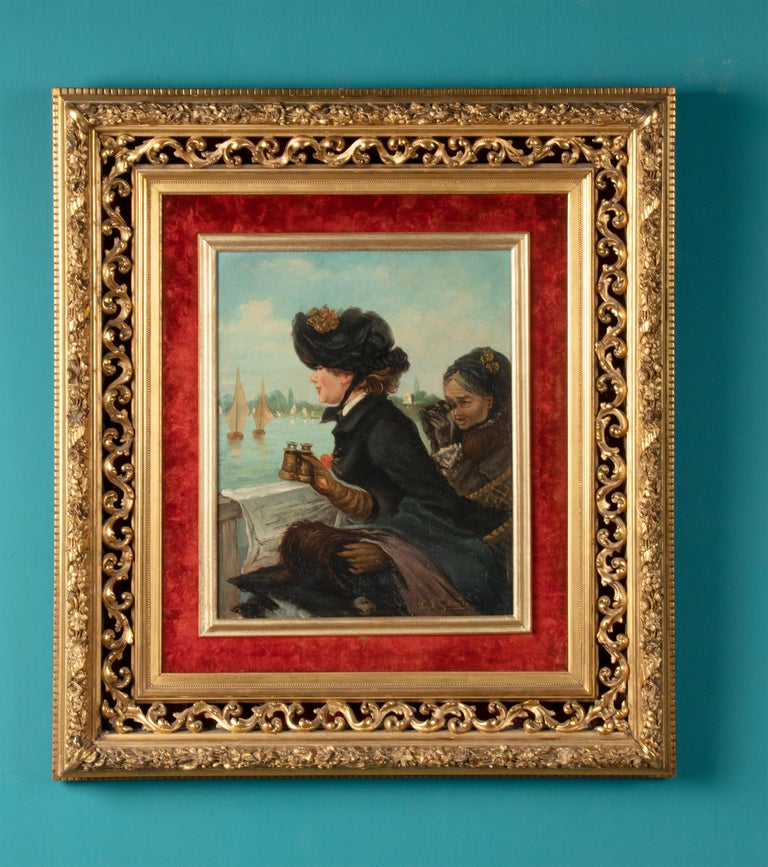 Canvas Late 19th Century Romantic Oil Painting After Eduardo Garrido For Sale