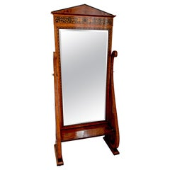 Late 19th Century Rosewood Standing Mirror with Marquetry in Black Wood