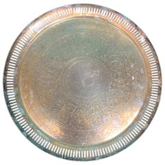 Late 19th Century Round Silvered Tray with Pierced Edge by W. & G. Sissons