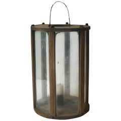 Late 19th Century Rustic Swedish Round Wooden Lantern