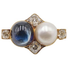 Late 19th Century Russian 10.4 Carat Natural Sapphire, Natural Pearl Gold Brooch