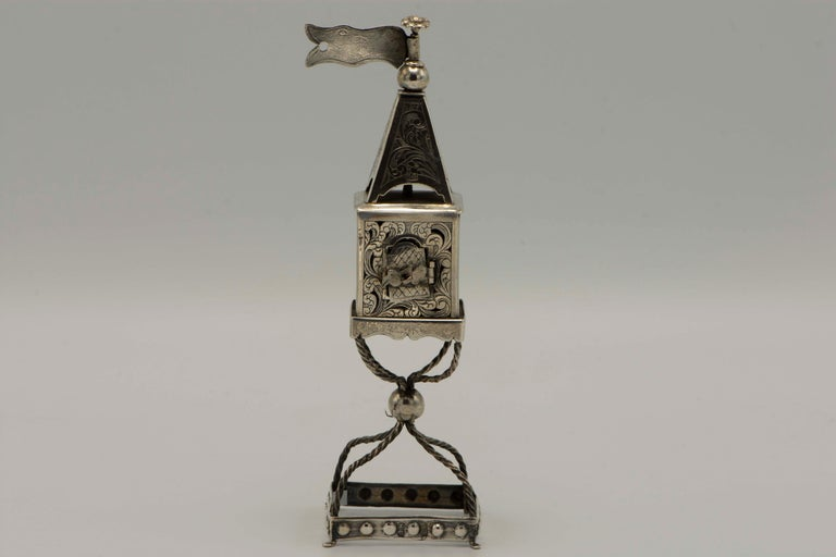 Late 19th Century Russian Empire Silver Spice Tower In Good Condition For Sale In New York, NY
