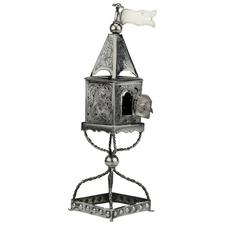 Late 19th Century Russian Empire Silver Spice Tower For Sale