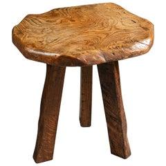 Late 19th Century Rustic Elm Wood English Tripod Table