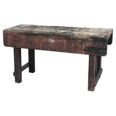 Late 19th Century Rustic Industrial Work Table from France
