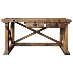 Late 19th Century Rustic Wood Sideboard or Work Table from France