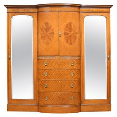 Late 19th Century Satinwood Sheraton Revival Compactum Wardrobe