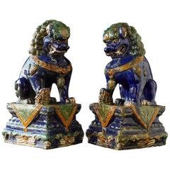 Late 19th Century Set of Two Large Chinese Sancai Glaze Foo Dogs