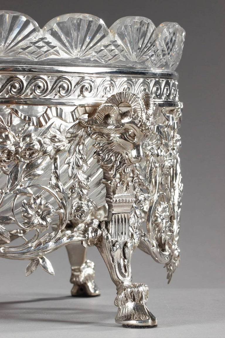 Late 19th Century Silver and Cut-Crystal Jardiniere For Sale 5