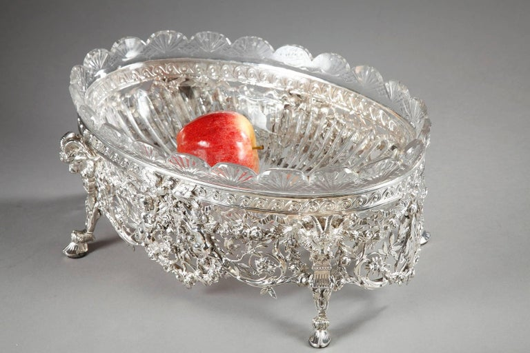 Louis XVI Late 19th Century Silver and Cut-Crystal Jardiniere For Sale