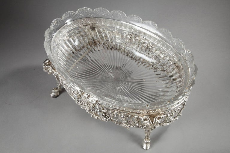 Late 19th Century Silver and Cut-Crystal Jardiniere In Good Condition For Sale In Paris, FR