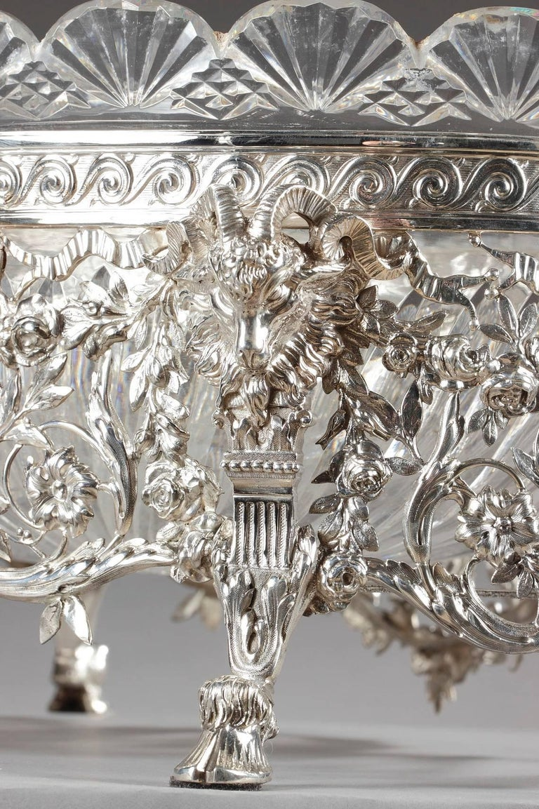 Late 19th Century Silver and Cut-Crystal Jardiniere For Sale 1