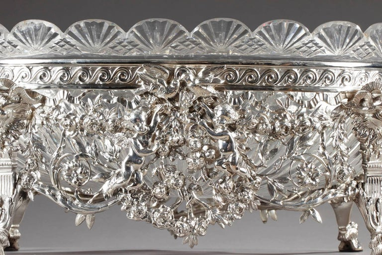 Late 19th Century Silver and Cut-Crystal Jardiniere For Sale 3