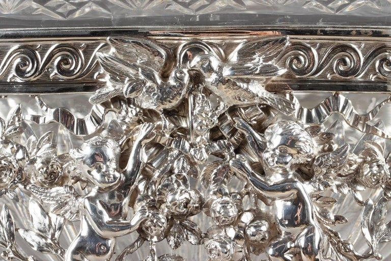Late 19th Century Silver and Cut-Crystal Jardiniere For Sale 4