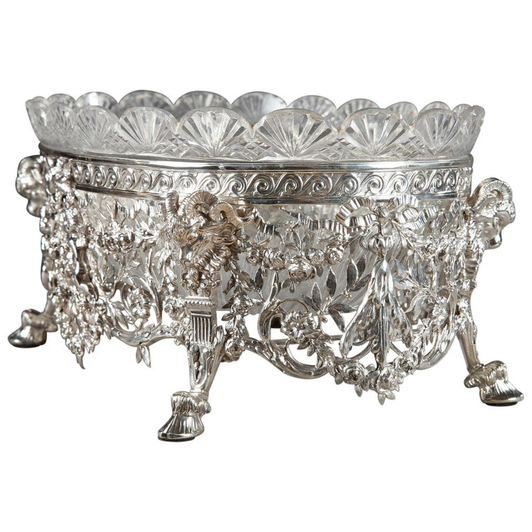 Late 19th Century Silver And Cut Crystal Jardiniere For Sale At